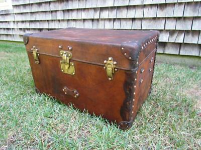 Antique Louis Vuitton Leather Trunk, Cute Petite Size, Red Interior