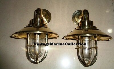 New Nautical Marine Brass Casting Ship Passage Light With Copper Cap - Set Of 2