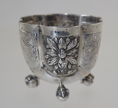 """Antique German Silver Beaker/dram Cup Footed Ball Claw Augsburg Mark & """"ar"""" Mono"""