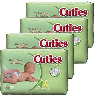 2-CASES Cuties Baby Diapers, Size 2, 42-Count, Pack of 4 (336 Diapers)