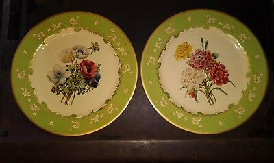 Lot Of 2 Baret Ware Metal Plates Made In England Anemones and Carnations