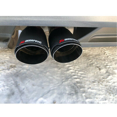 63mm Glossy Carbon Fiber Stainless Car Exhaust Pipe Trim Tip Muffler Universal