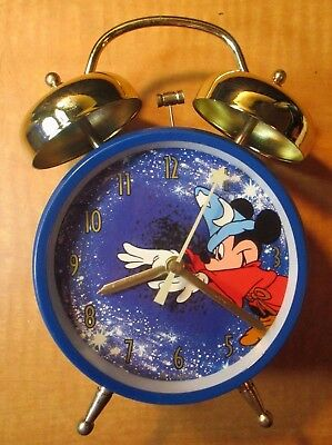 RARE~VINTAGE~FANTASIA WIZARD~Mickey Mouse~2 Bell Wind-up Alarm Clock ~LN IN BOX