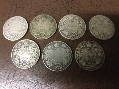 Lot Of 7 Canada .925 Silver Quarters, All Different Dates.