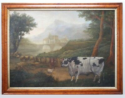 Large Antique 19th Century English School Prize Bull Portrait Oil Painting