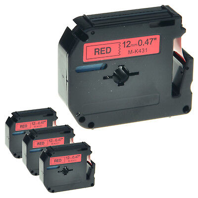 """4 PK MK 431 M-K431 Black on Red Label Tape for Brother P-Touch PT-65VP 1/2"""" 12mm"""
