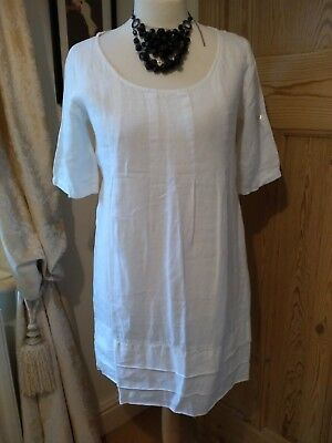 5f18434740 LINA TOMEI MADE in Italy White Linen Dress L (14 16) - £6.00 ...