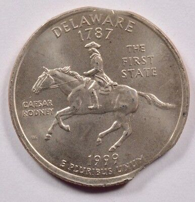 25c 1999 Delaware Quarter 4% Double Curved Clipped UNC
