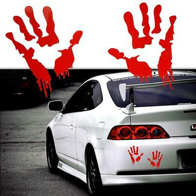 2Pcs Red Bloody Hand Print Vinyl Decal Dead Zombie Creepy For Honda Body Decor
