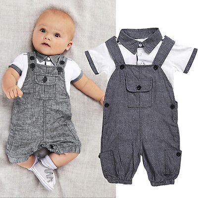 2PCS Newborn Baby Boy Gentleman Outfit Clothes Shirt Tops+Bib Pants Jumpsuit sag