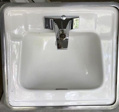 Standard Porcelain Drop-in Vanity Sink White Vtg 1964 (2 avail) - Very nice cond