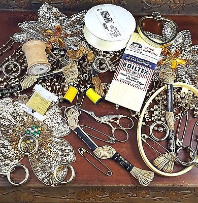 Vintage Sewing Notions Lot yellow gold arts crafts scissors thread spool sequins