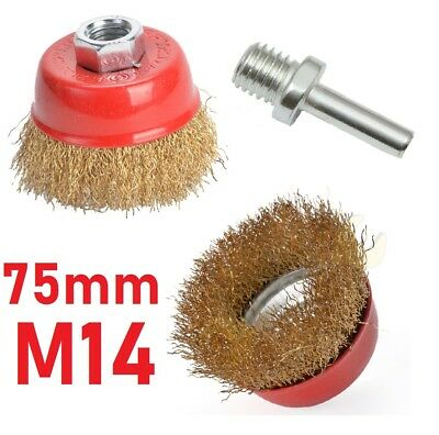 """Brass Wire Crimp Cup 75mm 3"""" Brush M14 Angle Grinder Drill Adaptor"""