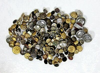 Large Lot of 170+ Collectible Vintage Metal Buttons, Various Sizes