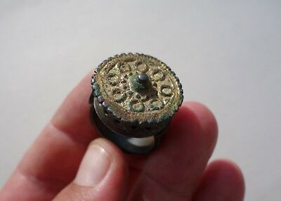 ancient late Roman/Byzantine solid bronze - gilt granulated ring