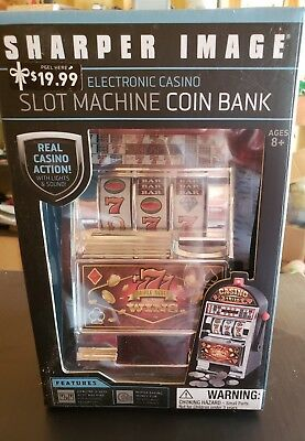 Sharper Image Electronic Casino Slot Machine Coin Bank w/ Lights and Sound NEW!!