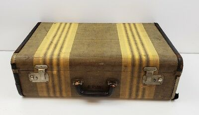 """Vintage Suitcase Leather Trim Canvas Tweed Striped Great Luggage large  21""""×13"""""""