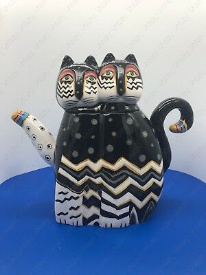 "Laurel Burch ""Zig Zag Cats"" Ceramic Teapot 48oz. Item No.#26024 By Westland Gift"
