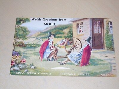 Vintage 1949 Novelty Pull Out Pc - Welsh Greetings From Mold