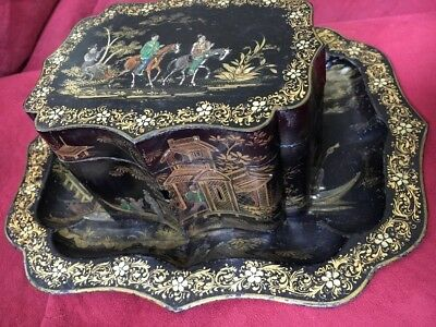 ANTIQUE Asian Chinese Design Hand Painted Gold Tin TOLEWARE TEA CADDY & Tray VTG