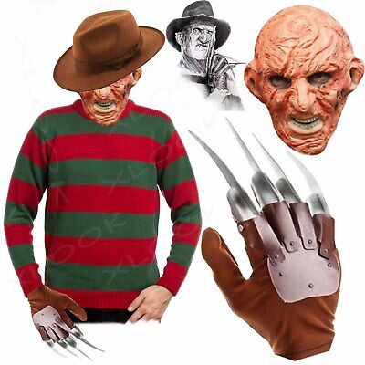 Mens New Freddy Red/green Striped Jumper Hat Or Set Kruger Halloween Fancy Dress
