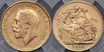 Great Britain, 1916 Sovereign - PCGS MS65