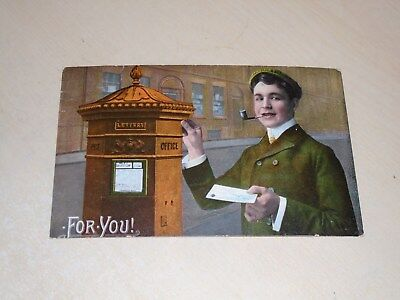 Early 1906 Novelty Postal History Pc - Postbox - For You - Vgc