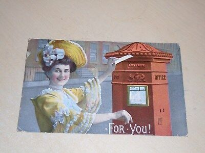 Early 1907 Novelty Postal History Pc - Postbox - For You! - Vgc