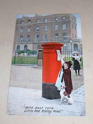 Early 1907 Novelty Postal History Pc - Postbox -Best Love Little Red Riding Hood