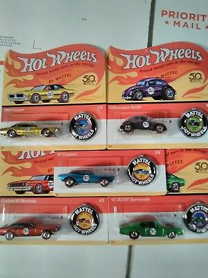 2018 HOT WHEELS 50th ANNIVERSARY COMPLETE SET OF 5 UNPUNCHED CARDS