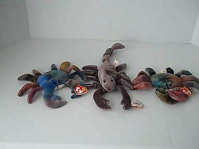 Ty BEANIE Babies LOT 3  CLAUDE the CRAB 1996  Stinger  The Scorpion 1997 Retired