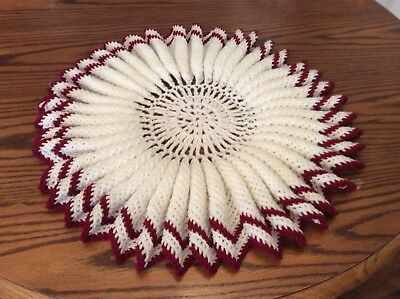 Vintage Hand Crocheted Ruffled Round Doily Made With Heavy Yarn
