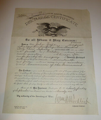 WWI Army Discharge Certificate 1919