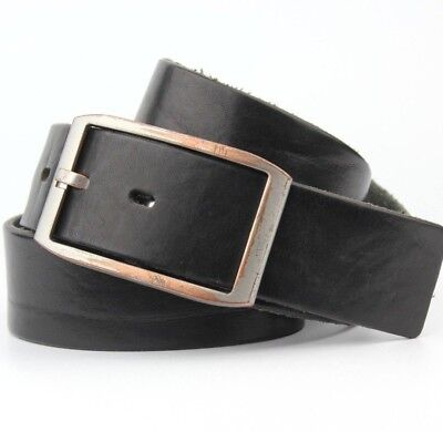 """Black Real Leather Thick Belt Nickle Free 39mm Wide Fits 32-34"""" Waist Vintage"""