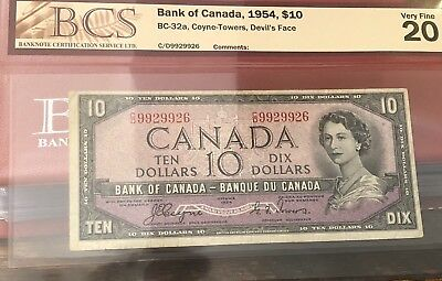 1954 Bank of Canada $10 Coyne- Towers, Devil's Face Very Fine 20