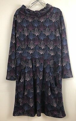 Lily And Me Blue Purple Multi Color Cowl Neck Long Sleeve Dress Pockets Size 16