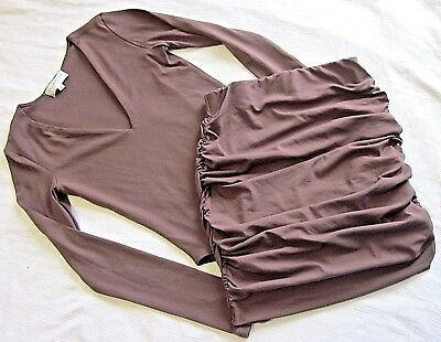 Free Post:  Glamazon Set Size 8 Taupe Ruched Fitted Skirt +  Sleeved Bodysuit