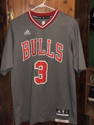 83d82bc96 Men s Chicago Bulls  3 Dwyane Wade adidas Gray Pride Swingman Sleeved Jersey