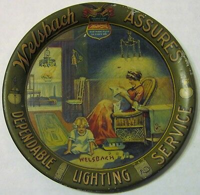 Antique Welsbach Lighting Lamps Advertising Tip Tray Home Graphic Mother Child