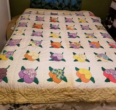 vintage quilt Pansy flower design cotton fabric hand quilted appliqued 72x88