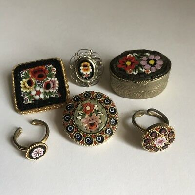 Lot of Vintage + Antique Italian Floral Glass Mosaic Brooches Rings Trinkets Box