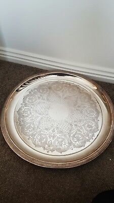 Beautiful Antique Round Silver Tray