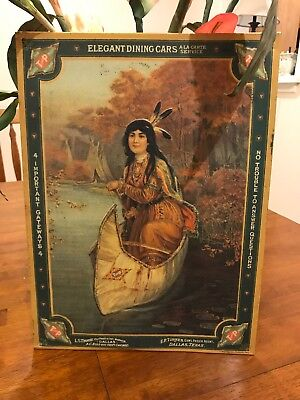 Texas Pacific Railway Indian Boat Tin Sign
