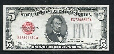 1928-C $5 Five Dollars Red Seal Legal Tener United States Note About Unc
