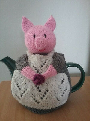 knitted pig tea pot cosy -  4  cup