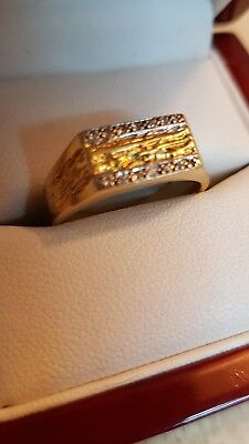 Mens 18ct Gold Ring With Diamonds