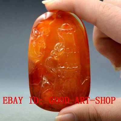 100% Natural Blood Red Burmite Amber Stone Hand-carved Bat & Bamboo Pendant G42