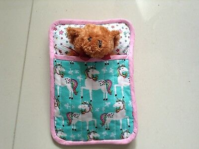 Handmade quilted sleeping bag for a teddy bear/doll.small size
