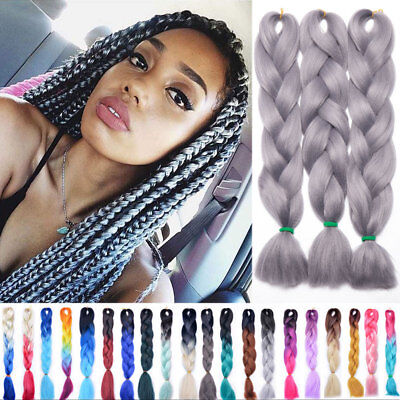 "3 Bundles 24""100g Ombre Xpression Jumbo Kanekalo Braiding Hair Extension Brown H"