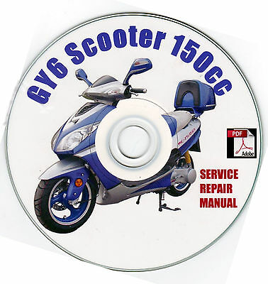 scooter 150cc gy6 qmj service repair shop manual on cd vip peace